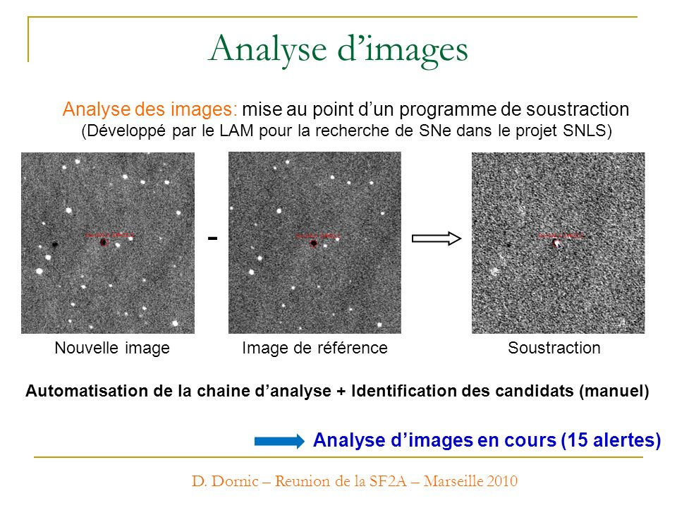 Analyse d'images Analyse des images: mise au point d'un programme de soustraction.