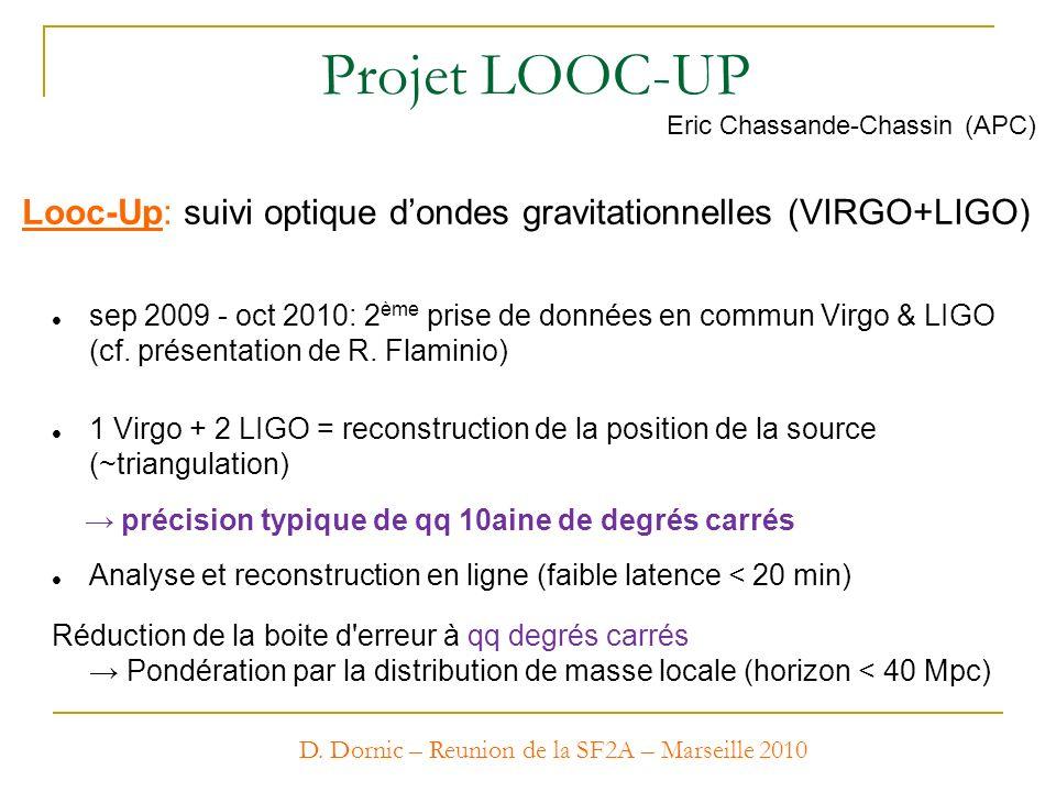 Projet LOOC-UP Eric Chassande-Chassin (APC) Looc-Up: suivi optique d'ondes gravitationnelles (VIRGO+LIGO)