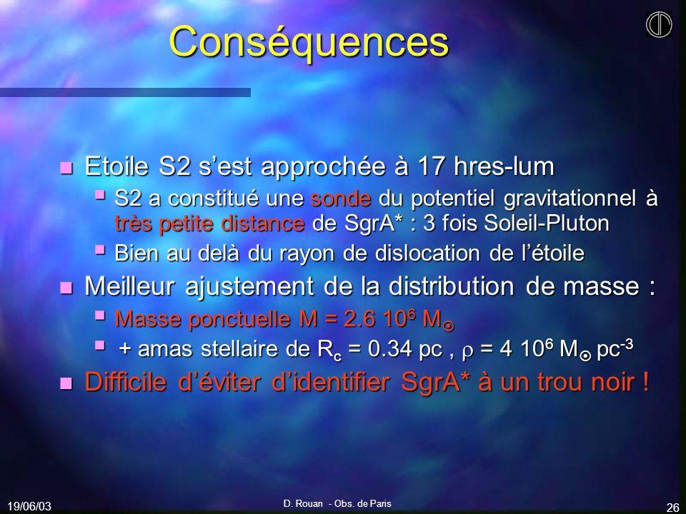 Conséquences Etoile S2 s'est approchée à 17 hres-lum