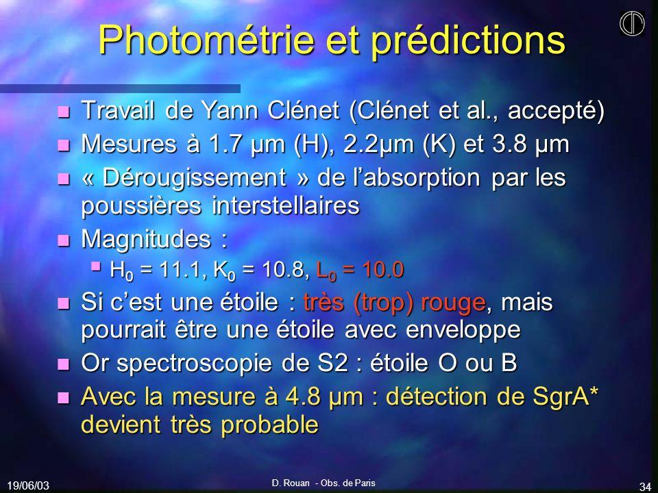 Photométrie et prédictions