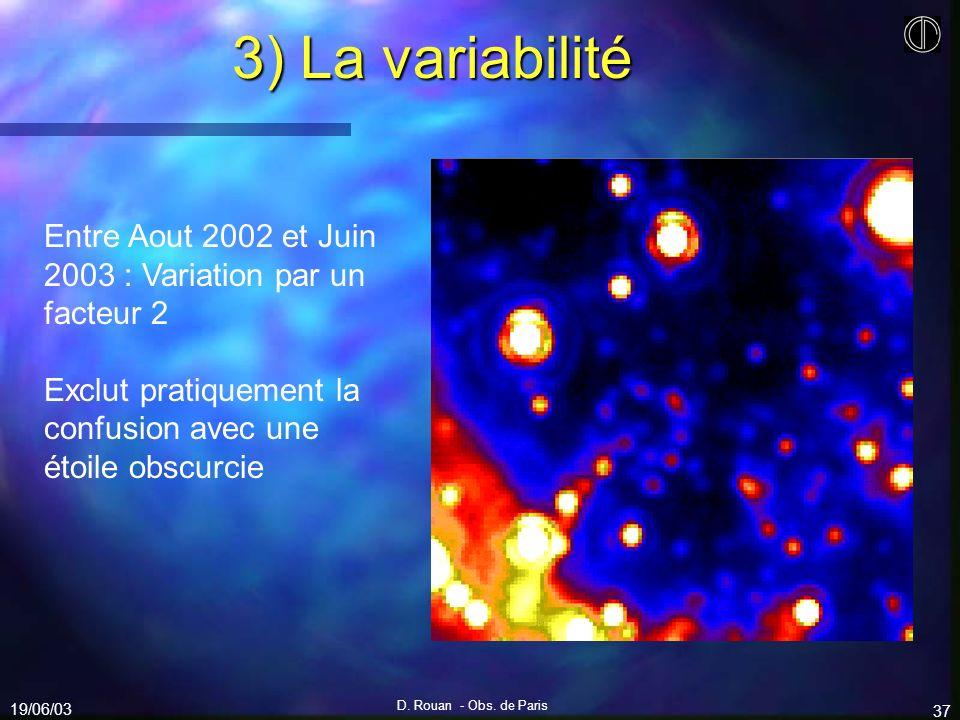 3) La variabilité Entre Aout 2002 et Juin 2003 : Variation par un facteur 2. Exclut pratiquement la confusion avec une étoile obscurcie.
