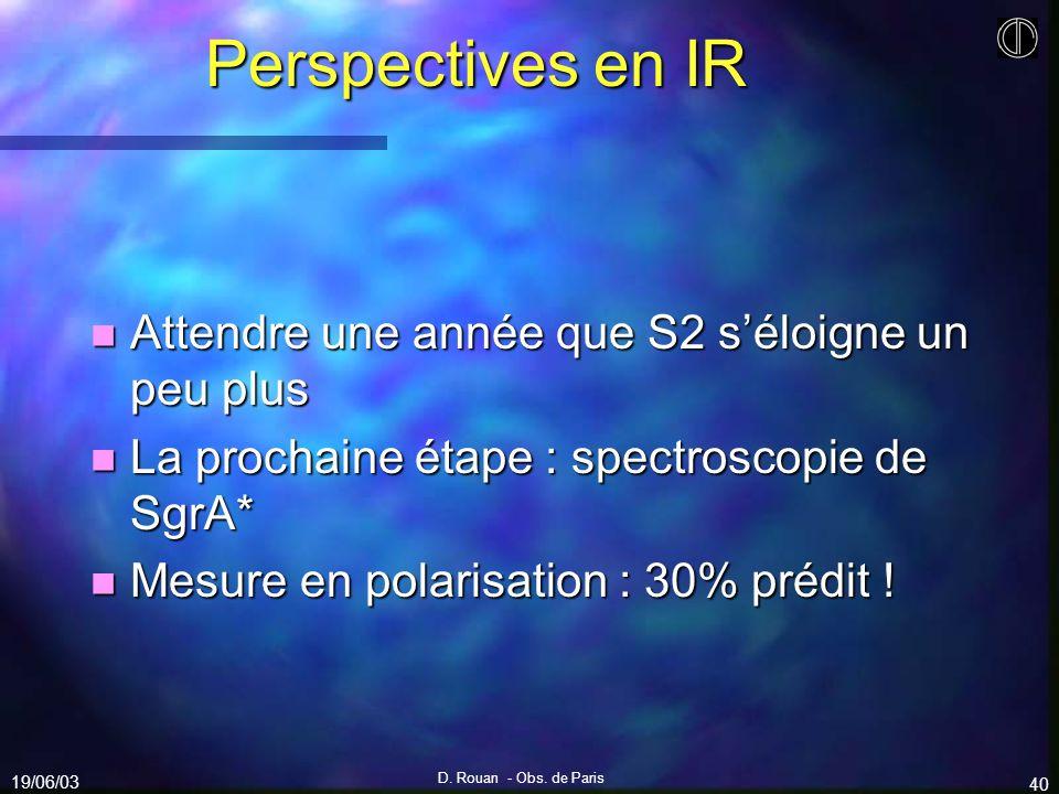 Perspectives en IR Attendre une année que S2 s'éloigne un peu plus