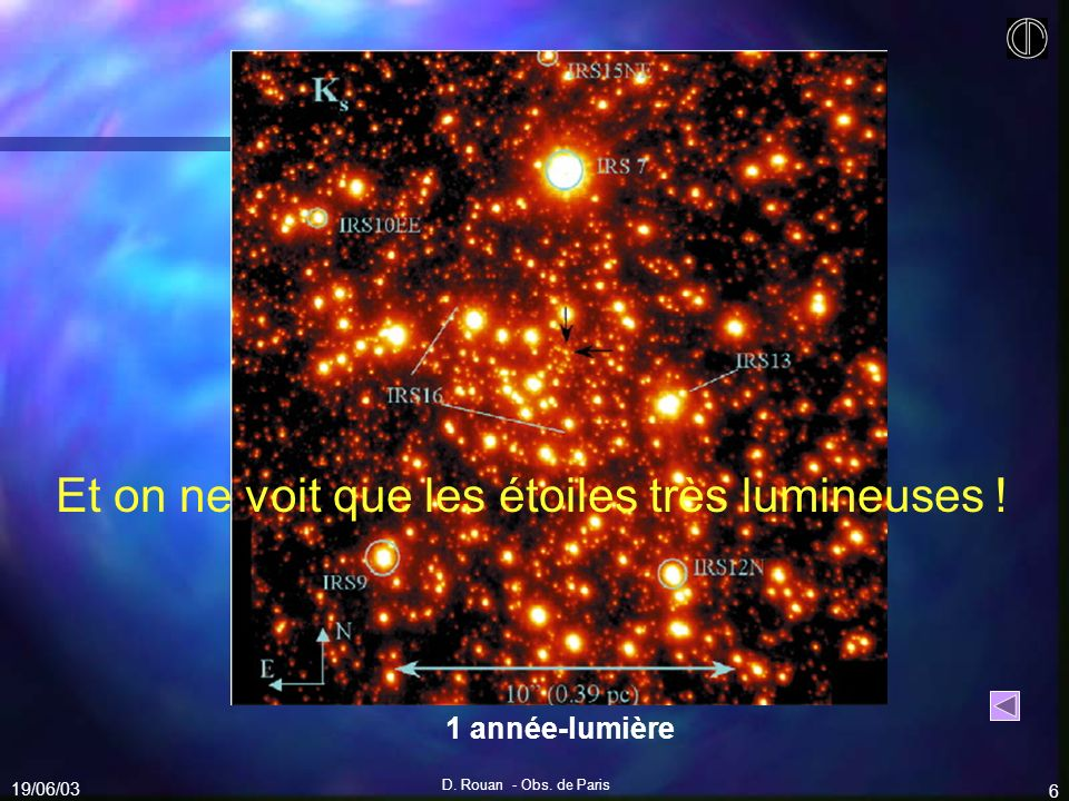 Et on ne voit que les étoiles très lumineuses !