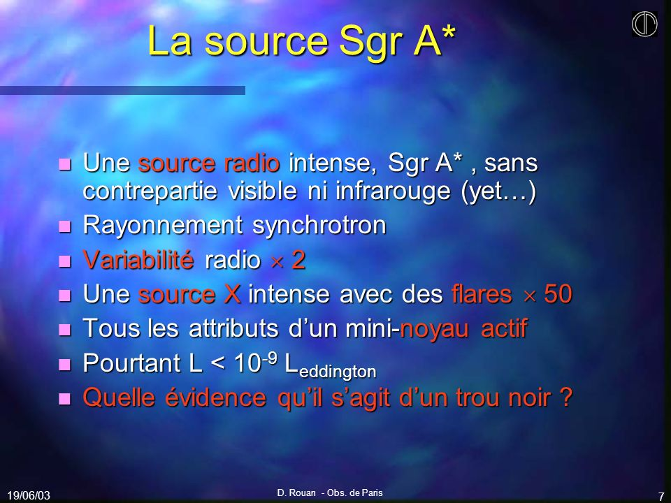 La source Sgr A* Une source radio intense, Sgr A* , sans contrepartie visible ni infrarouge (yet…) Rayonnement synchrotron.