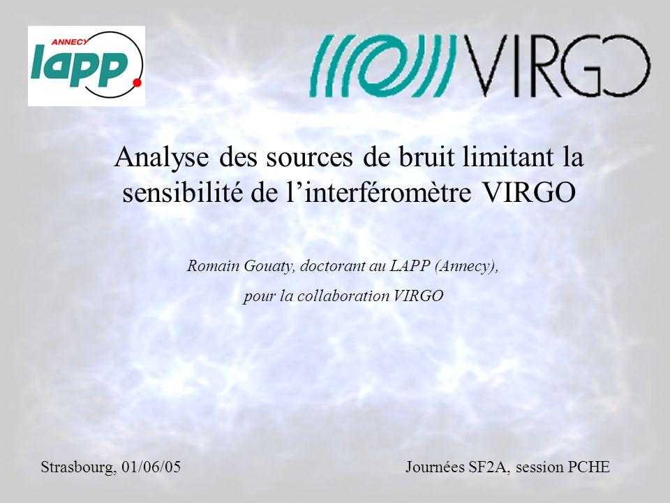 Analyse des sources de bruit limitant la sensibilité de l'interféromètre VIRGO