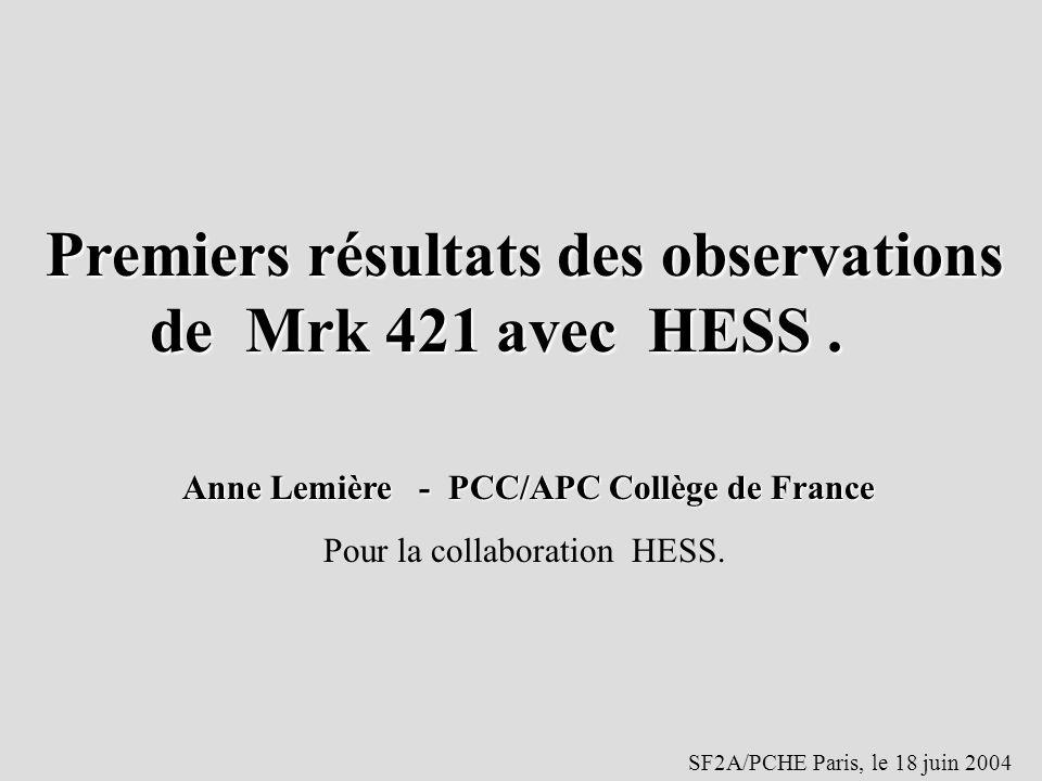 Premiers résultats des observations de Mrk 421 avec HESS .