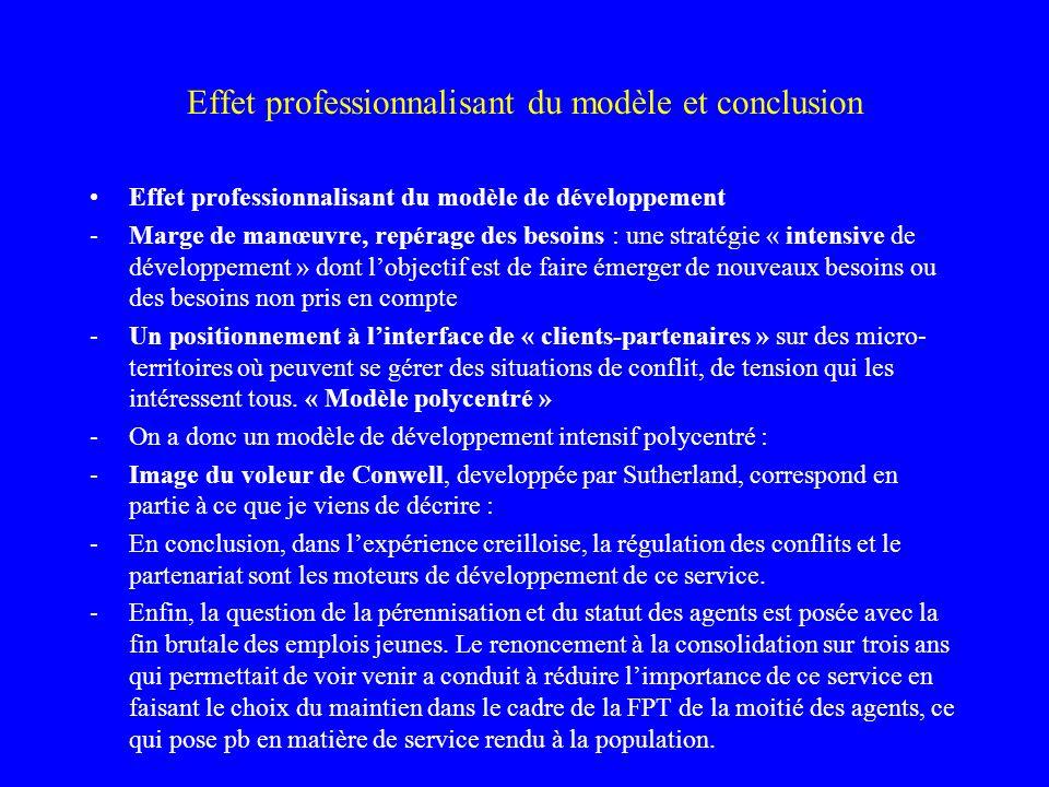 Effet professionnalisant du modèle et conclusion