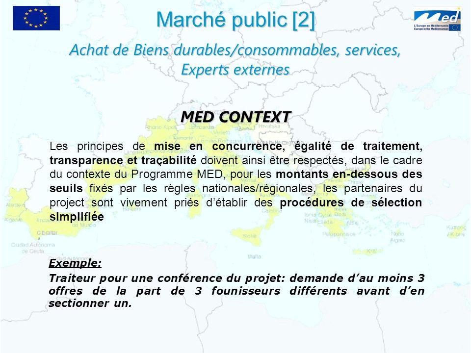 Achat de Biens durables/consommables, services,