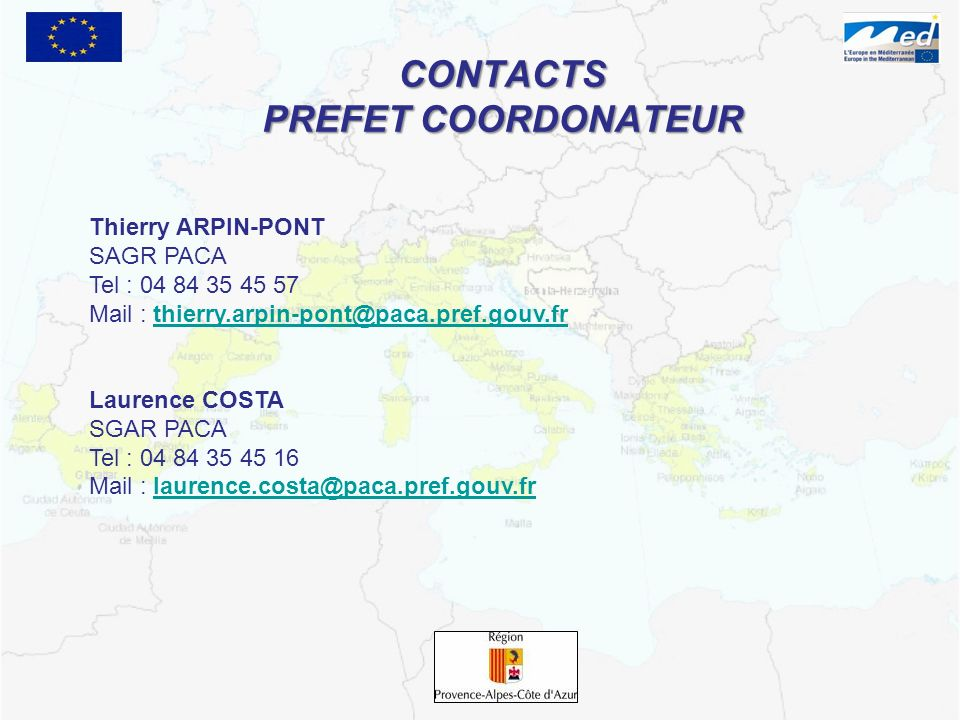CONTACTS PREFET COORDONATEUR