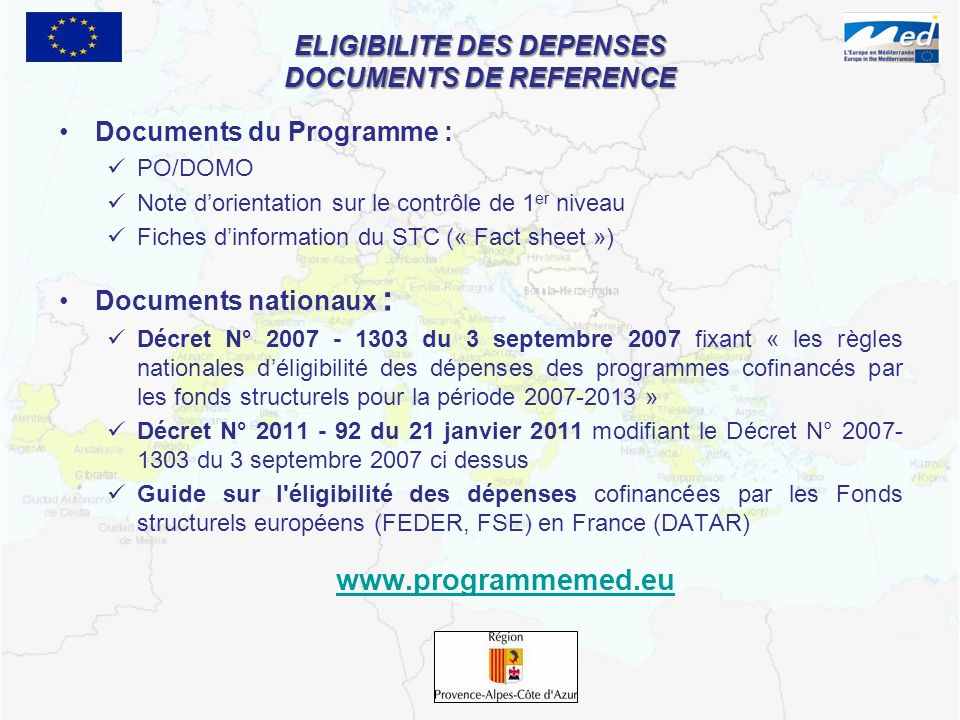 ELIGIBILITE DES DEPENSES DOCUMENTS DE REFERENCE