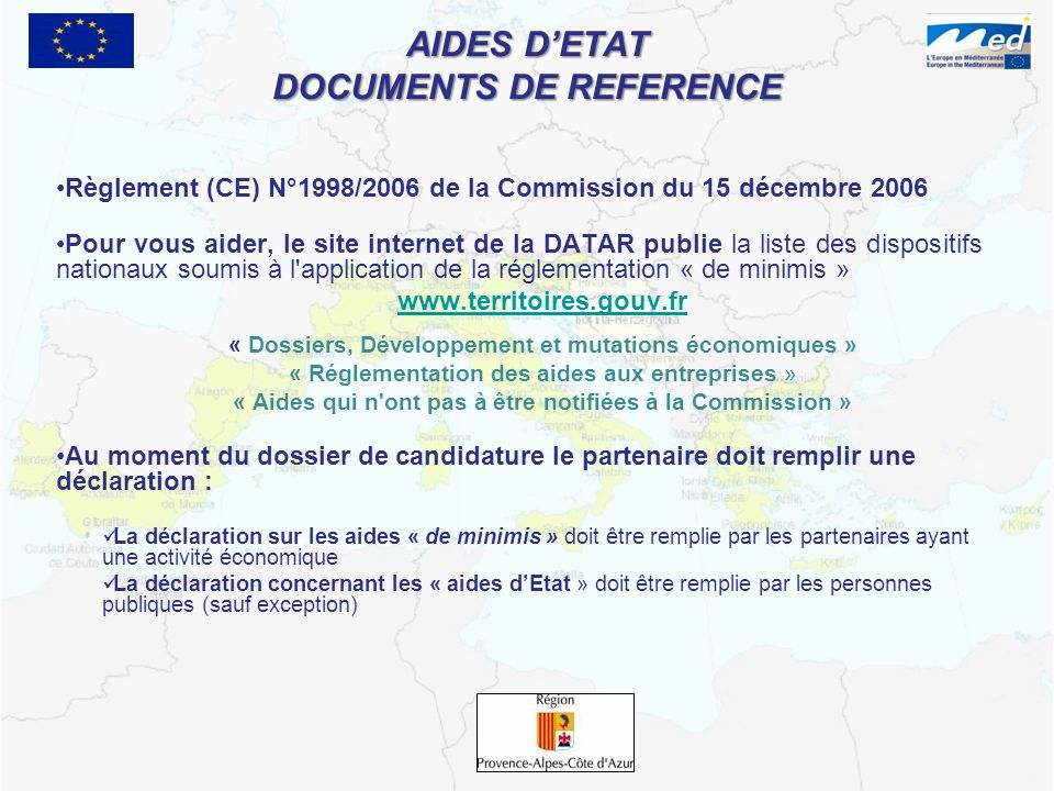 AIDES D'ETAT DOCUMENTS DE REFERENCE