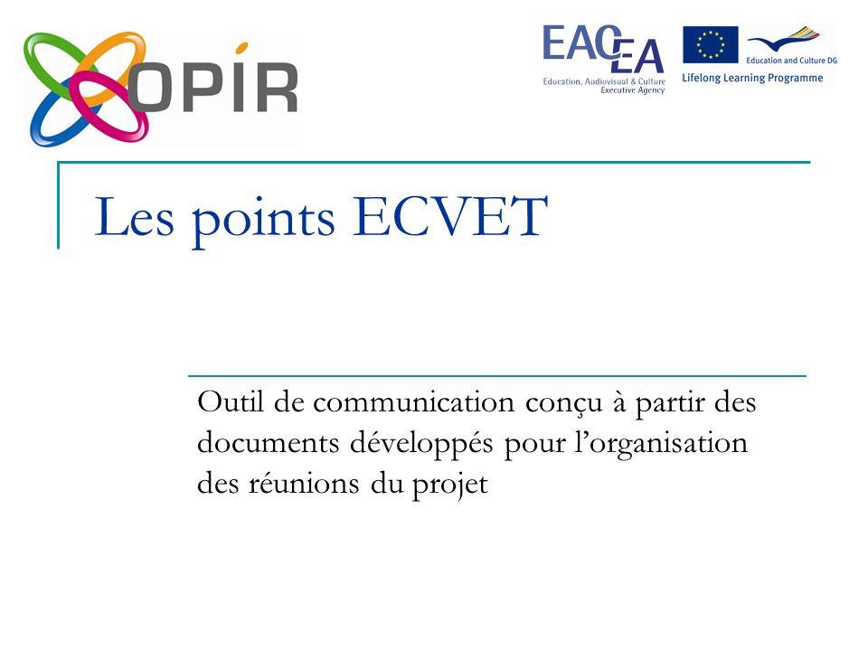 Les points ECVET Outil de communication conçu à partir des documents développés pour l'organisation des réunions du projet.