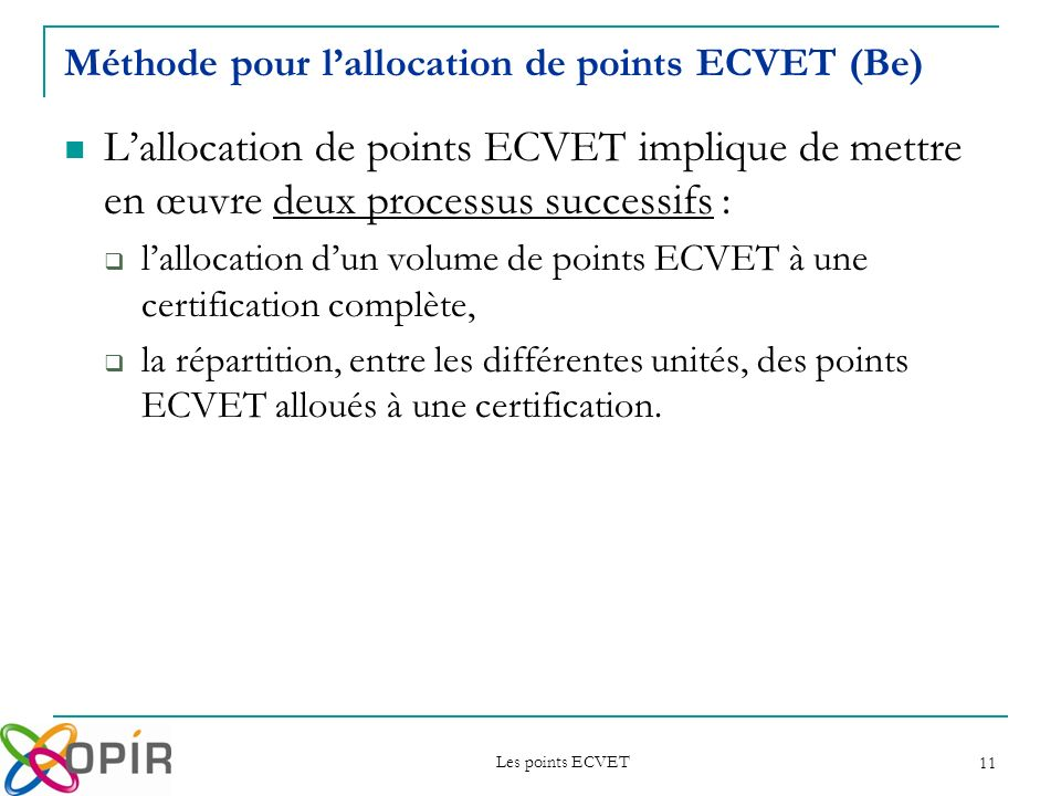 Méthode pour l'allocation de points ECVET (Be)