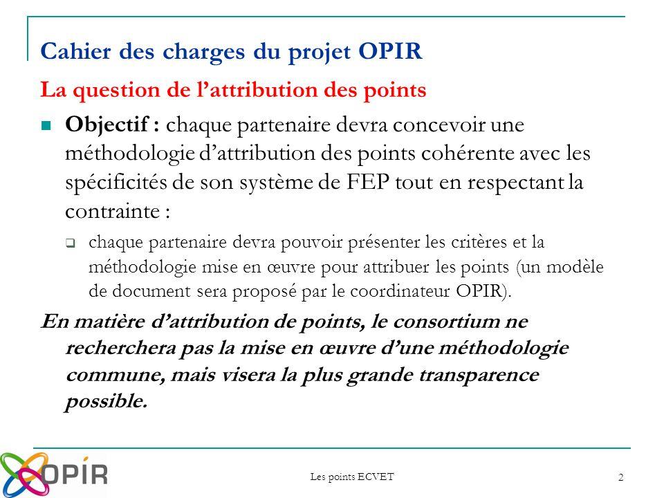 Cahier des charges du projet OPIR