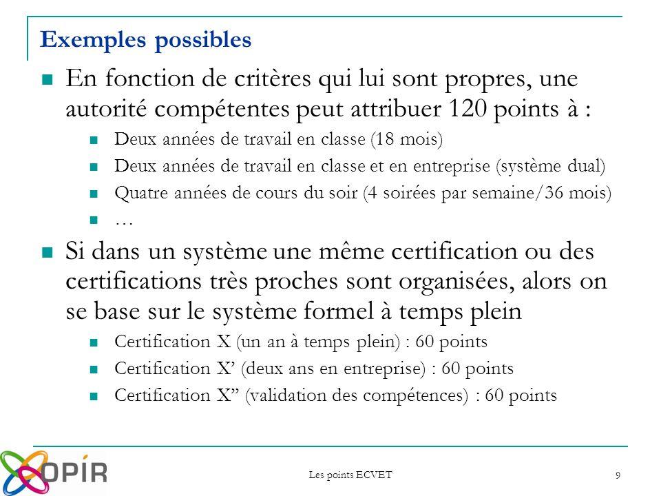 Exemples possibles En fonction de critères qui lui sont propres, une autorité compétentes peut attribuer 120 points à :