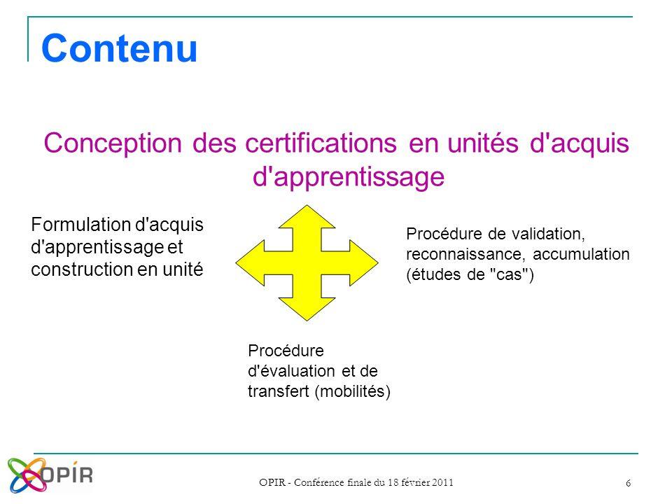 Contenu Conception des certifications en unités d acquis d apprentissage. Formulation d acquis d apprentissage et construction en unité.