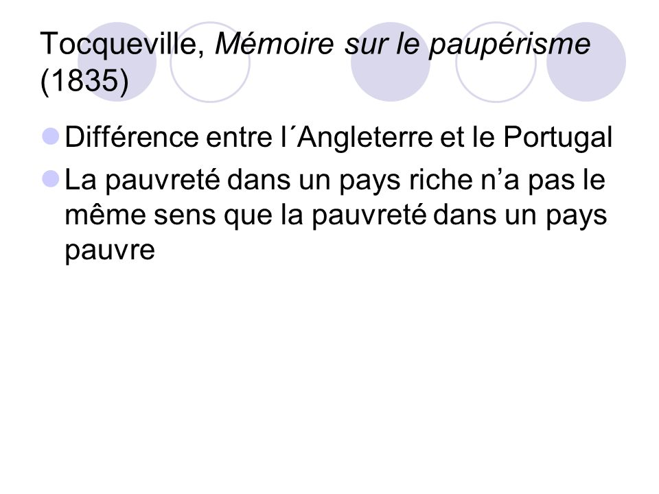 Tocqueville, Mémoire sur le paupérisme (1835)