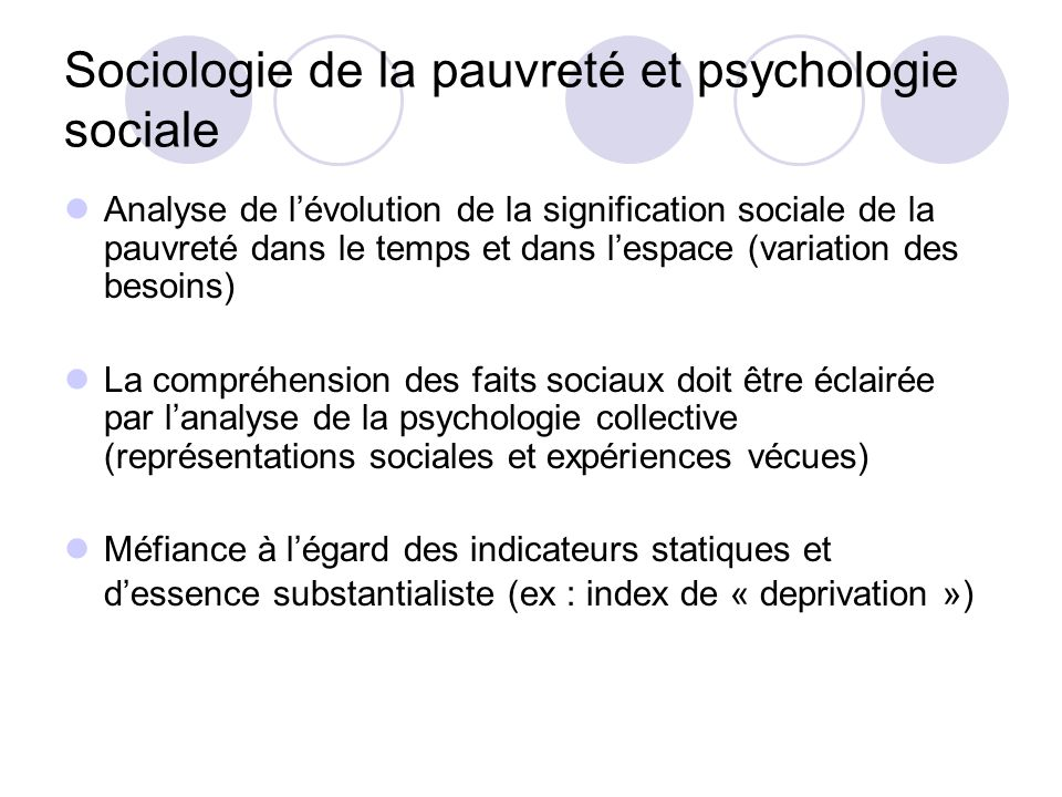 Sociologie de la pauvreté et psychologie sociale