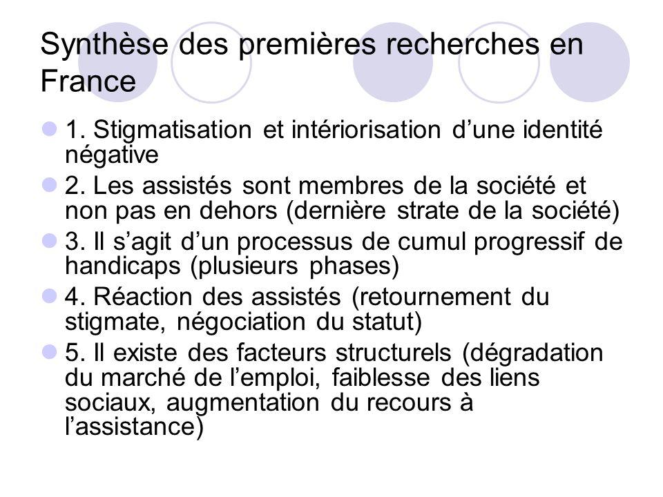 Synthèse des premières recherches en France