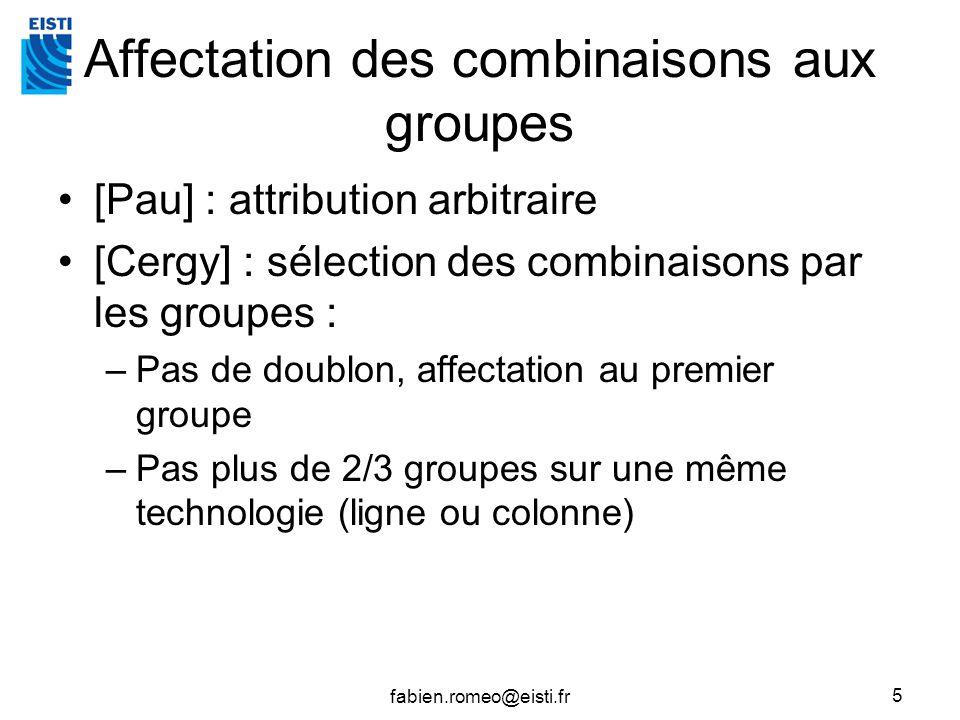 Affectation des combinaisons aux groupes