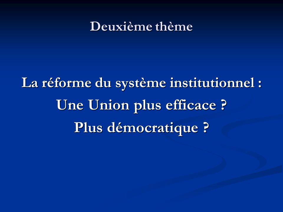 La réforme du système institutionnel : Une Union plus efficace