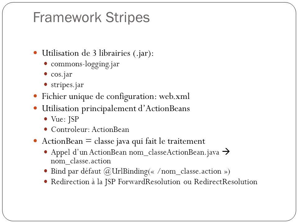 Framework Stripes Utilisation de 3 librairies (.jar):