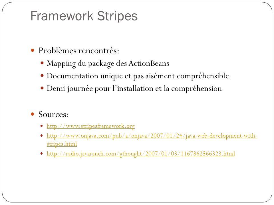 Framework Stripes Problèmes rencontrés: Sources: