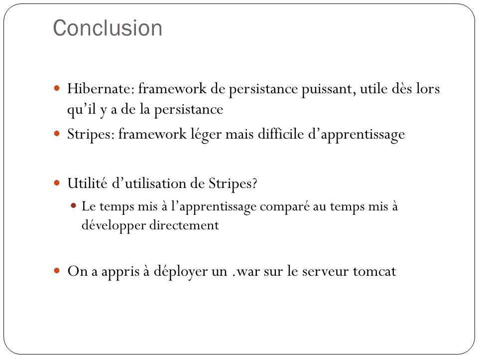 Conclusion Hibernate: framework de persistance puissant, utile dès lors qu'il y a de la persistance.