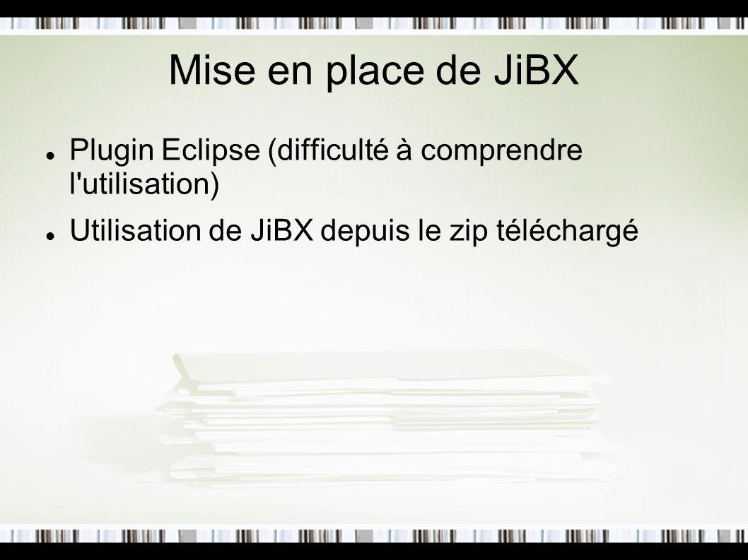 Mise en place de JiBX Plugin Eclipse (difficulté à comprendre l utilisation) Utilisation de JiBX depuis le zip téléchargé.
