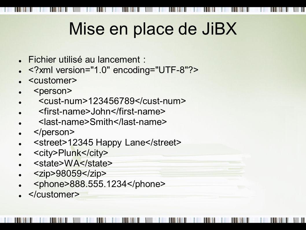 Mise en place de JiBX Fichier utilisé au lancement :