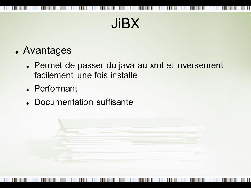 JiBX Avantages. Permet de passer du java au xml et inversement facilement une fois installé. Performant.
