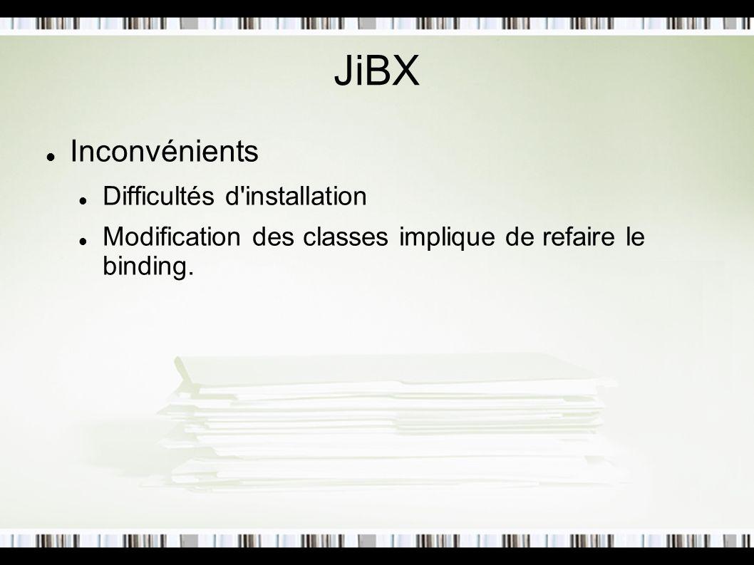 JiBX Inconvénients Difficultés d installation