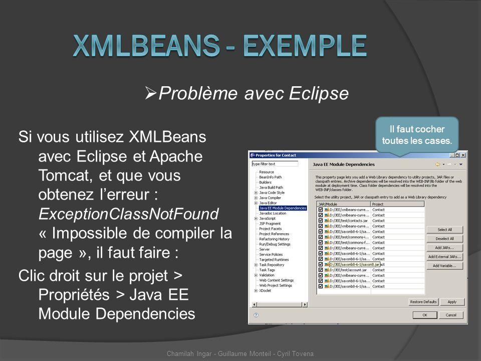 Xmlbeans - exemple Problème avec Eclipse
