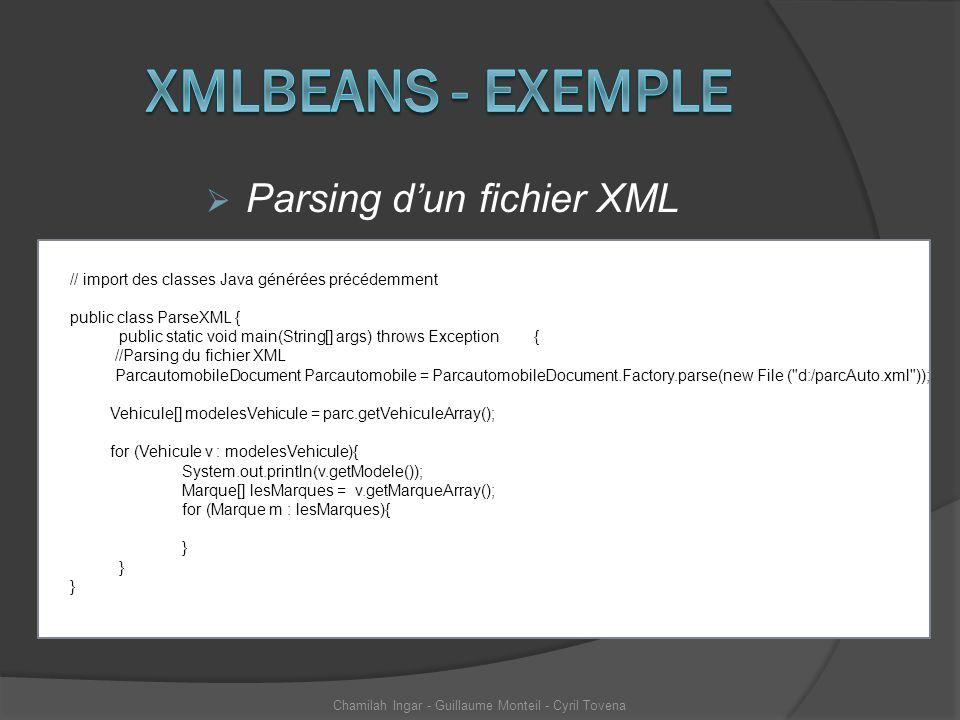Xmlbeans - exemple Parsing d'un fichier XML