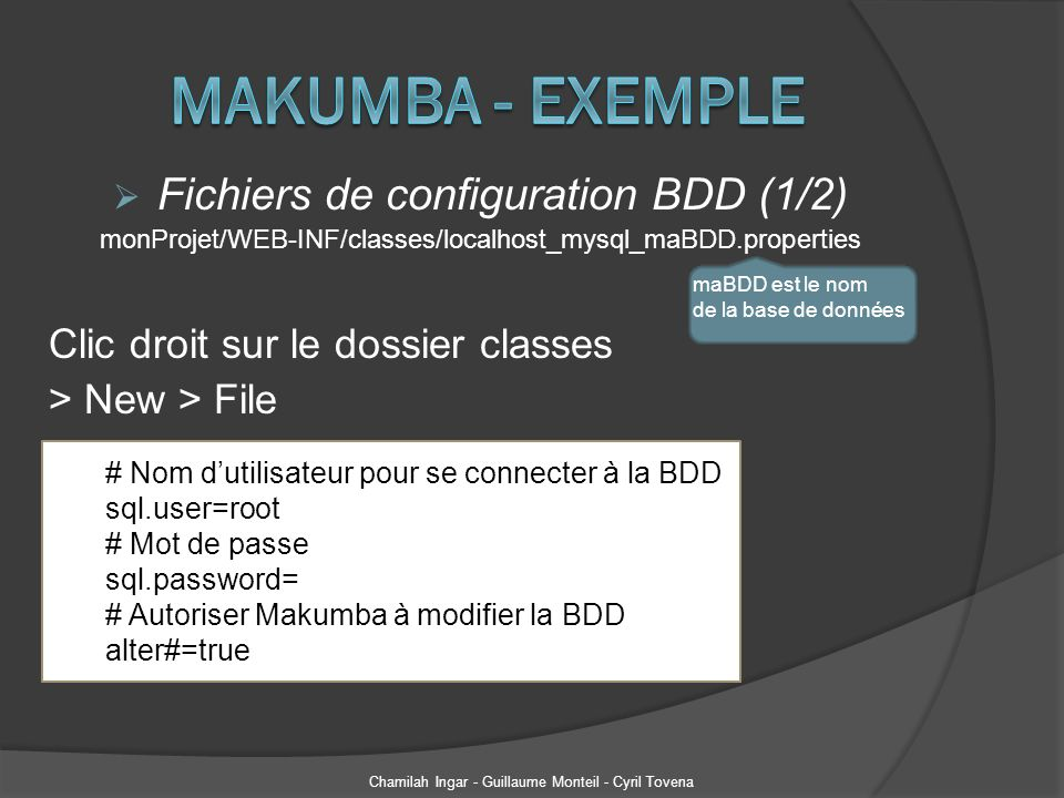 Makumba - Exemple Fichiers de configuration BDD (1/2)