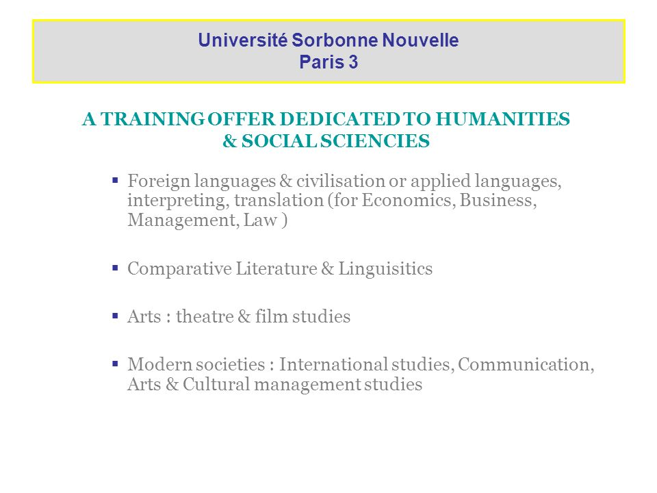 A TRAINING OFFER DEDICATED TO HUMANITIES & SOCIAL SCIENCIES