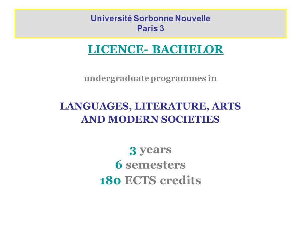 Université Sorbonne Nouvelle Paris 3 LANGUAGES, LITERATURE, ARTS