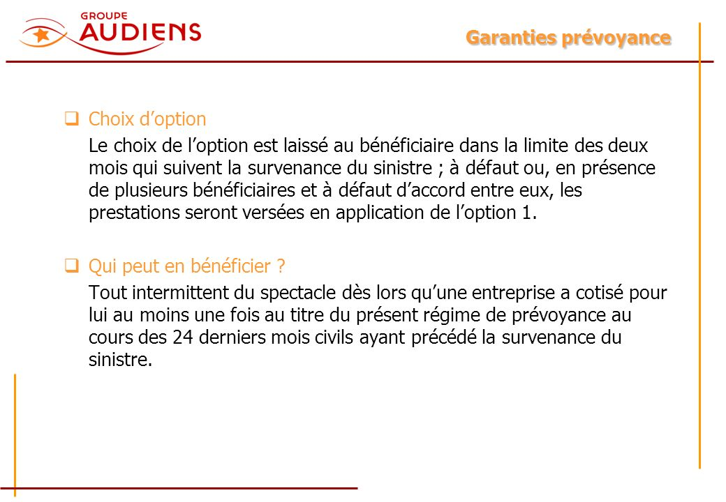 Garanties prévoyance Choix d'option.