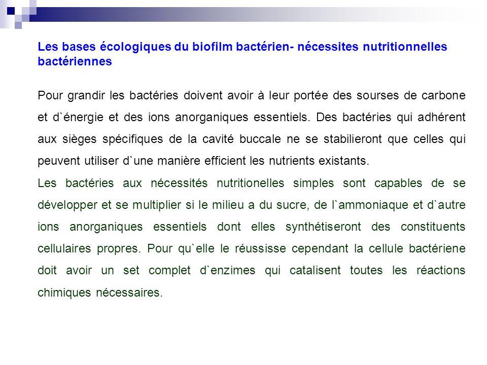 Les bases écologiques du biofilm bactérien- nécessites nutritionnelles bactériennes