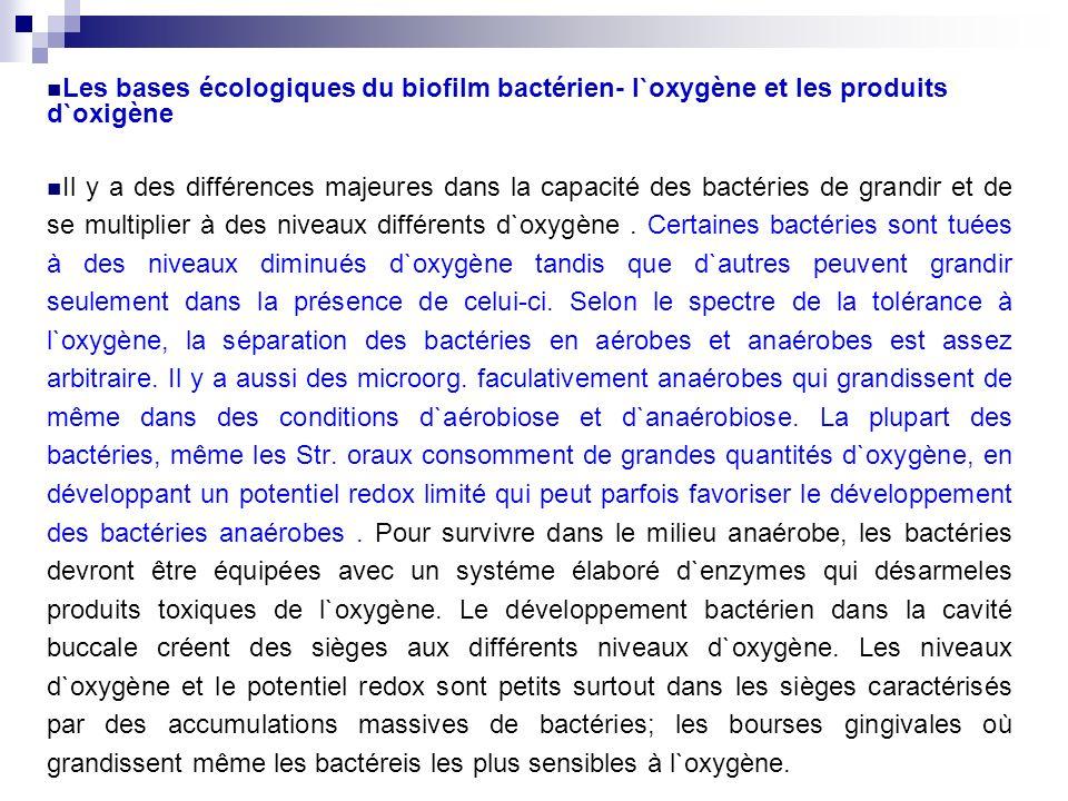 Les bases écologiques du biofilm bactérien- l`oxygène et les produits d`oxigène