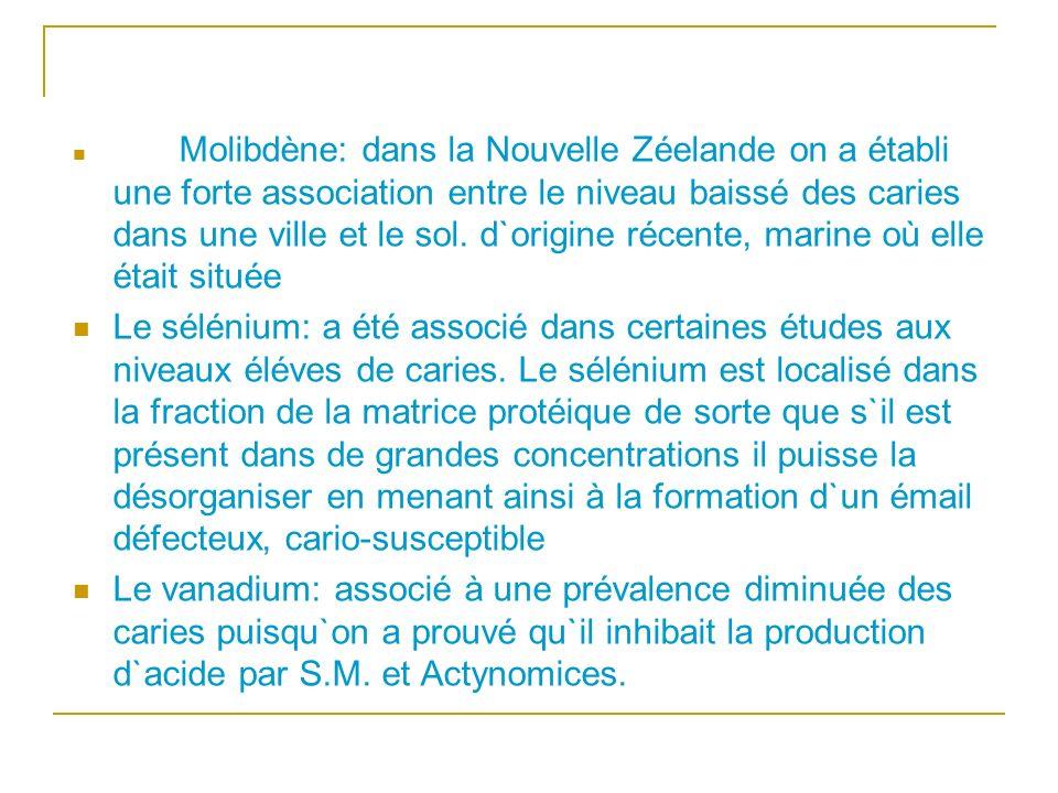 Molibdène: dans la Nouvelle Zéelande on a établi une forte association entre le niveau baissé des caries dans une ville et le sol. d`origine récente, marine où elle était située