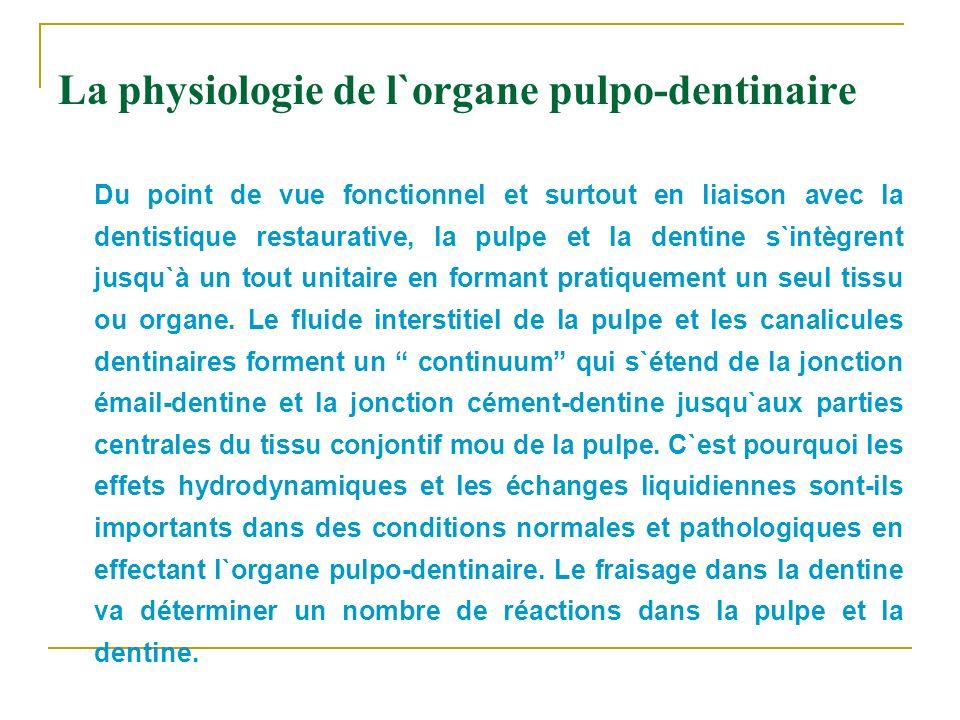 La physiologie de l`organe pulpo-dentinaire