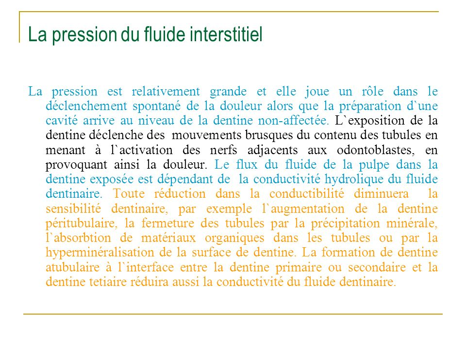 La pression du fluide interstitiel