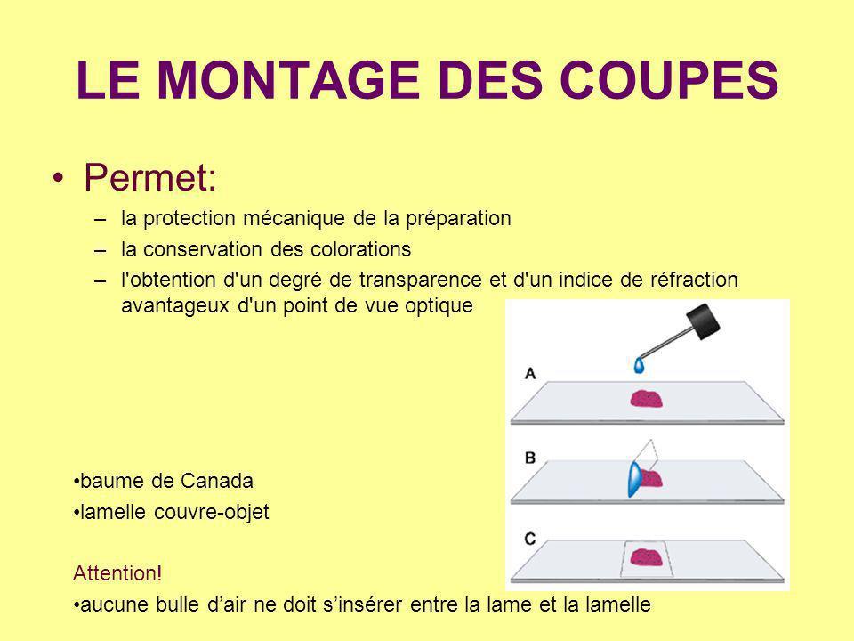 LE MONTAGE DES COUPES Permet: