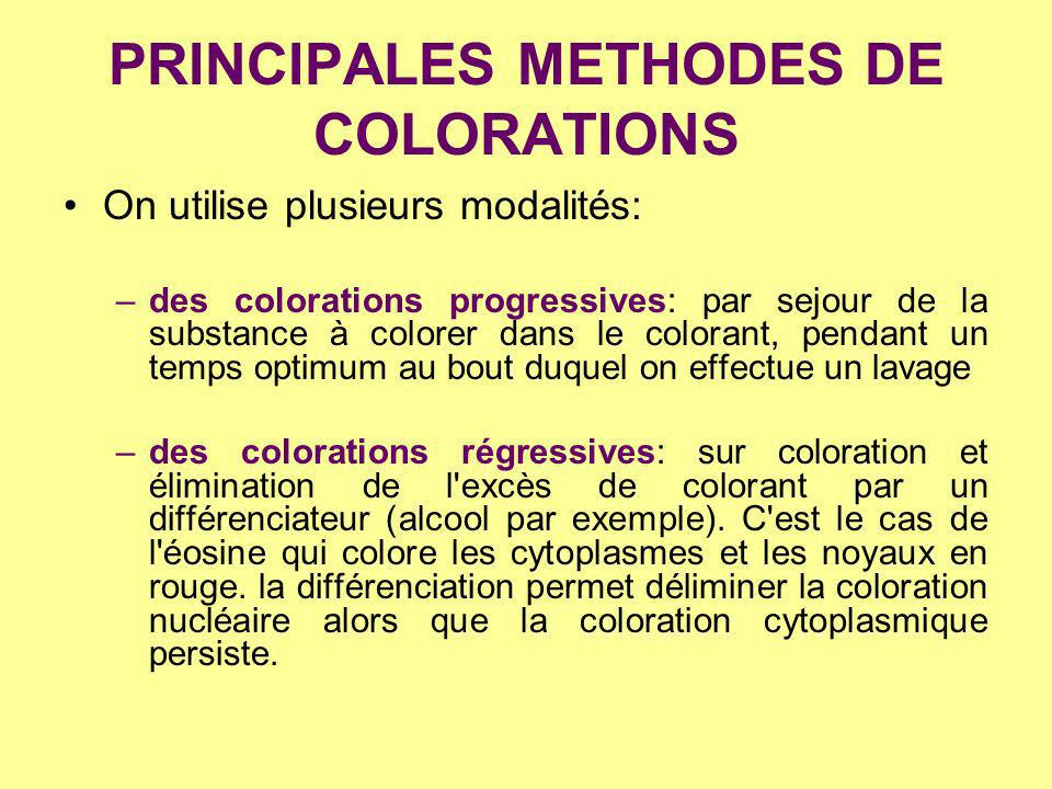 PRINCIPALES METHODES DE COLORATIONS