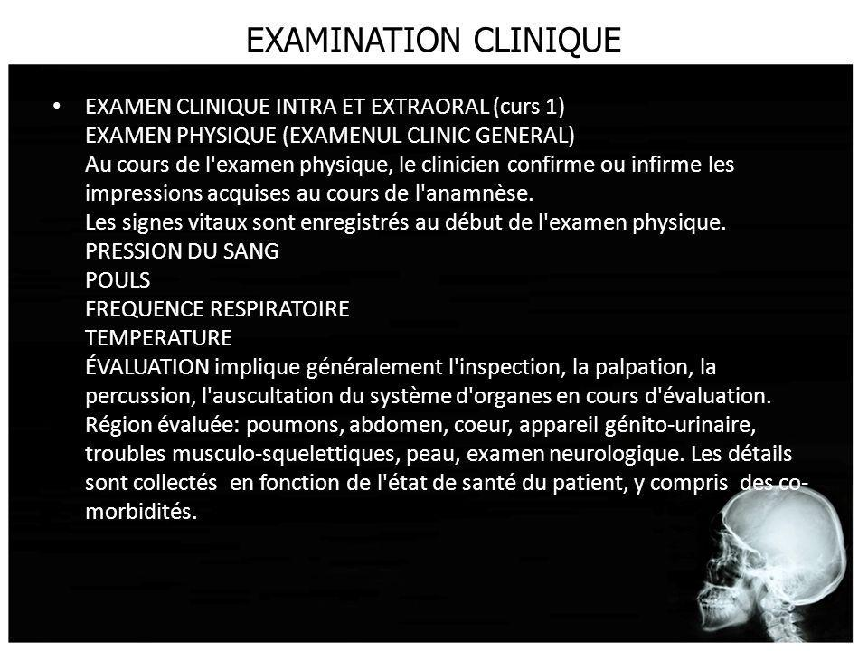 EXAMINATION CLINIQUE