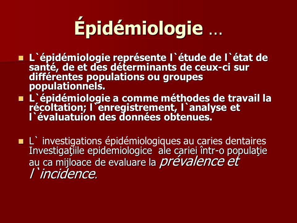 Épidémiologie …