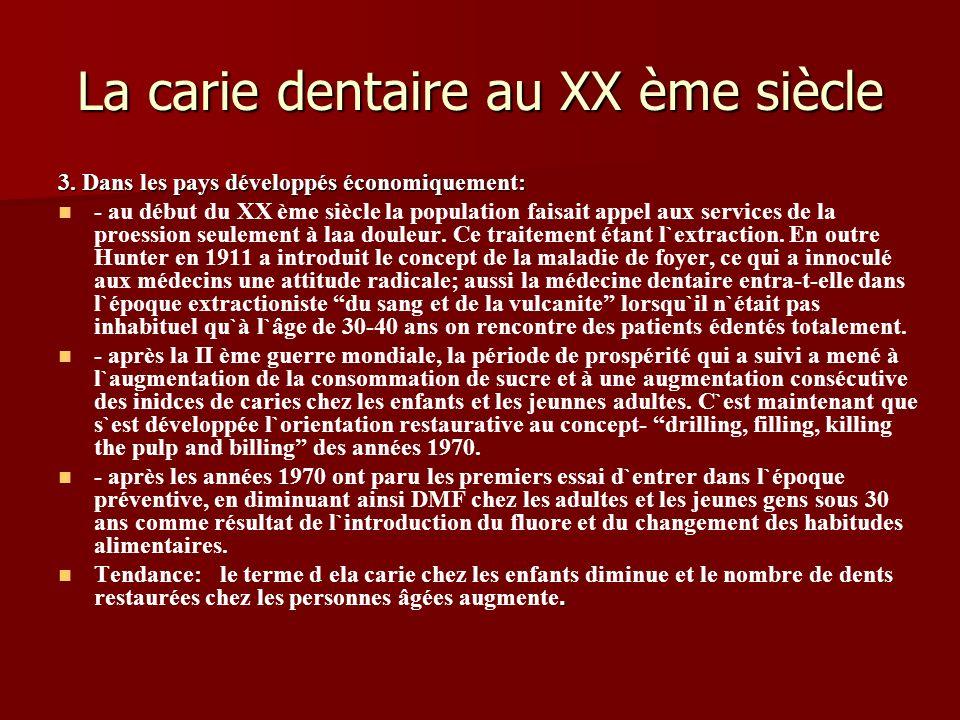 La carie dentaire au XX ème siècle