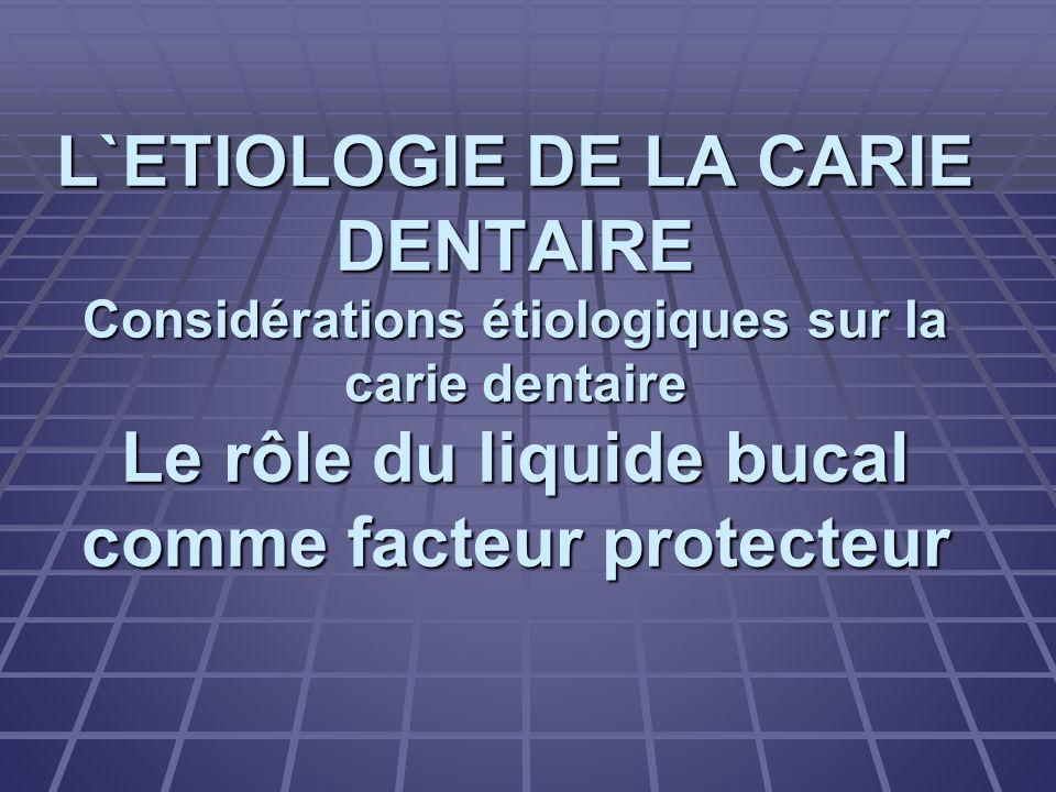 L`ETIOLOGIE DE LA CARIE DENTAIRE Considérations étiologiques sur la carie dentaire Le rôle du liquide bucal comme facteur protecteur