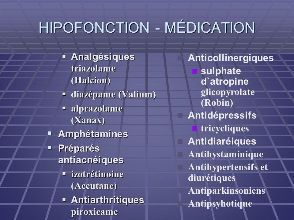HIPOFONCTION - MÉDICATION